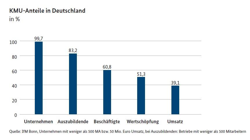 Grafik: KMU-Anteile in Deutschland / IfM Bonn