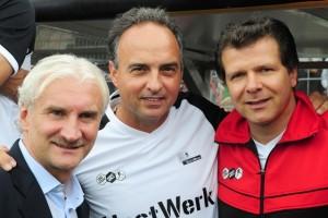Foto (von links): Rüdi Völler, Hansi Müller und Andreas Möller