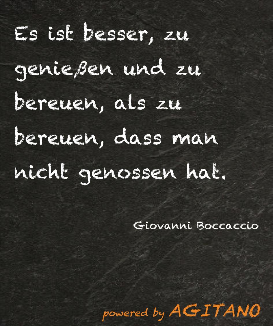 giovanni boccaccio: es ist besser, zu genießen  - agitano
