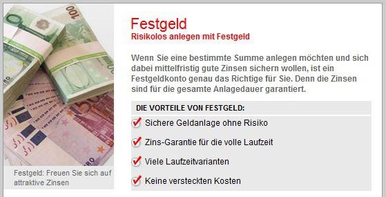 Festgeld, Geldanlage