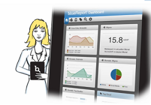 Bluereport, Medienbeobachtung, Medienanalyse, Dashboard, Video, Screenshot