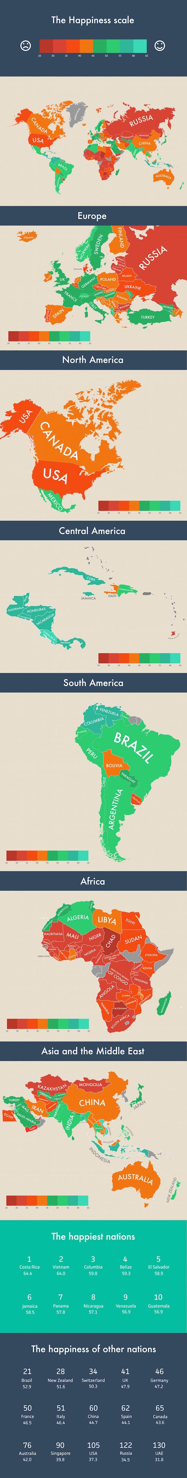 infografik, happiness around the world, glück, glücklich