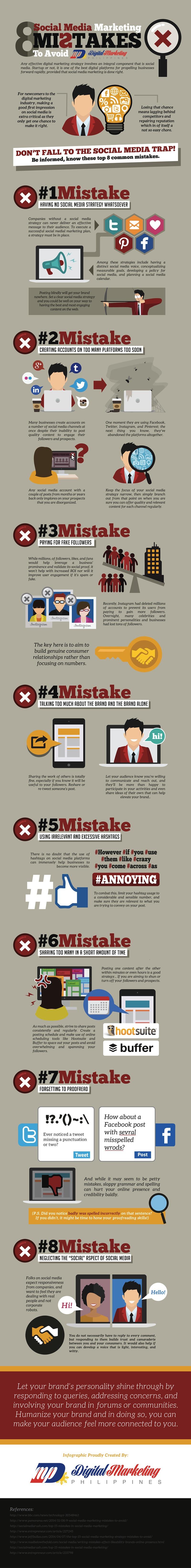 Die Infografik zeigt 8 Fehler, die man beim Social Media Marketing vermeiden sollte. (© Digital Marketing Philippines / Bild)