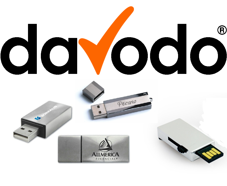 Von davodo.de bedruckte USB-Sticks vor weissem Hintergrund ein idealer Werbeartikel