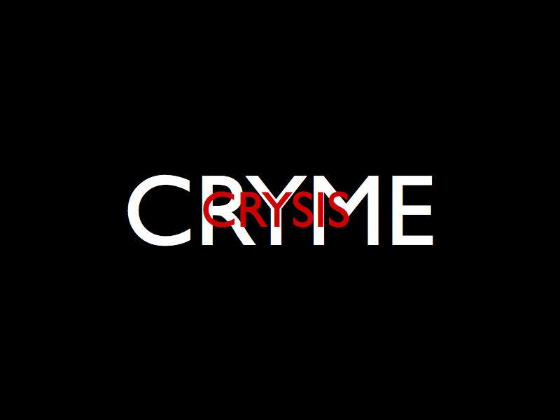 Wortlwolke Cryme and Crises zu deutsch Kriminalität und Krise, Symbol fuer das Zeitalter des Untergangs und der Horrorclowns