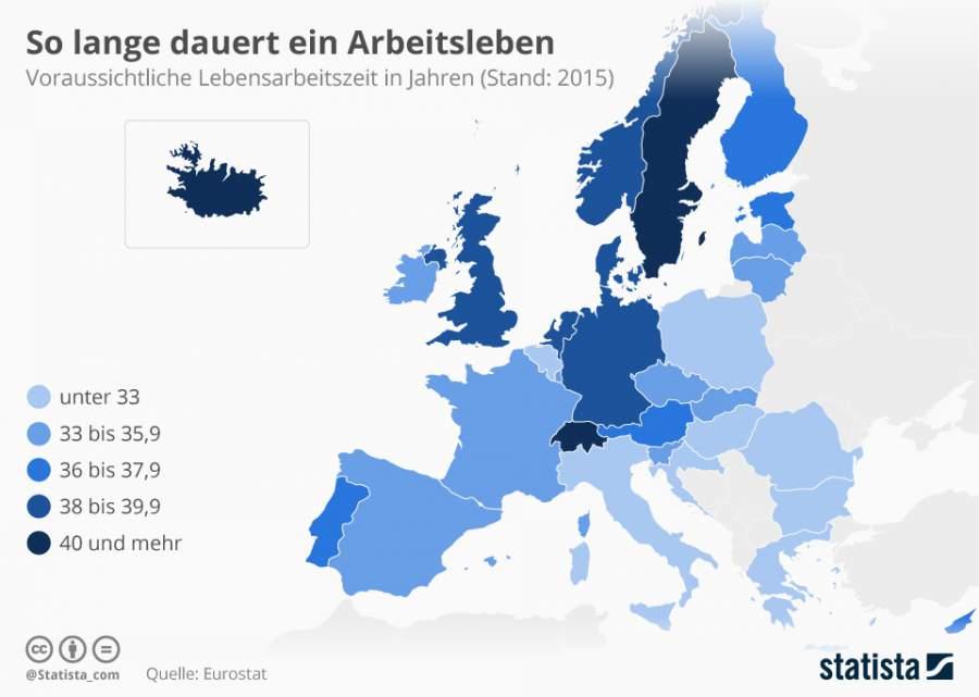 Infografik zu den Arbeitszeiten im EU-Raum