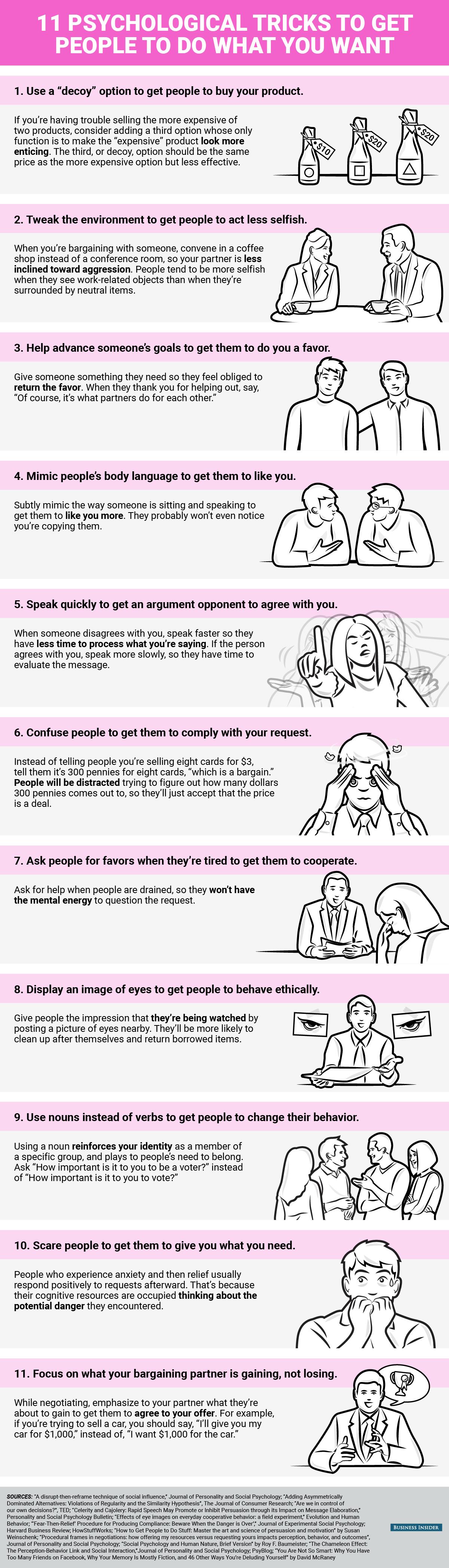 Infografik zu den besten Psychotricks