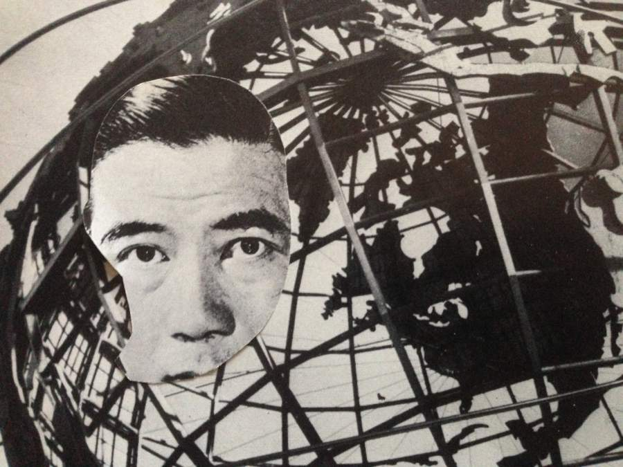 Collage Gesicht auf einer Weltkugel montier Symbol fuer den globalen Prozess der Initiation