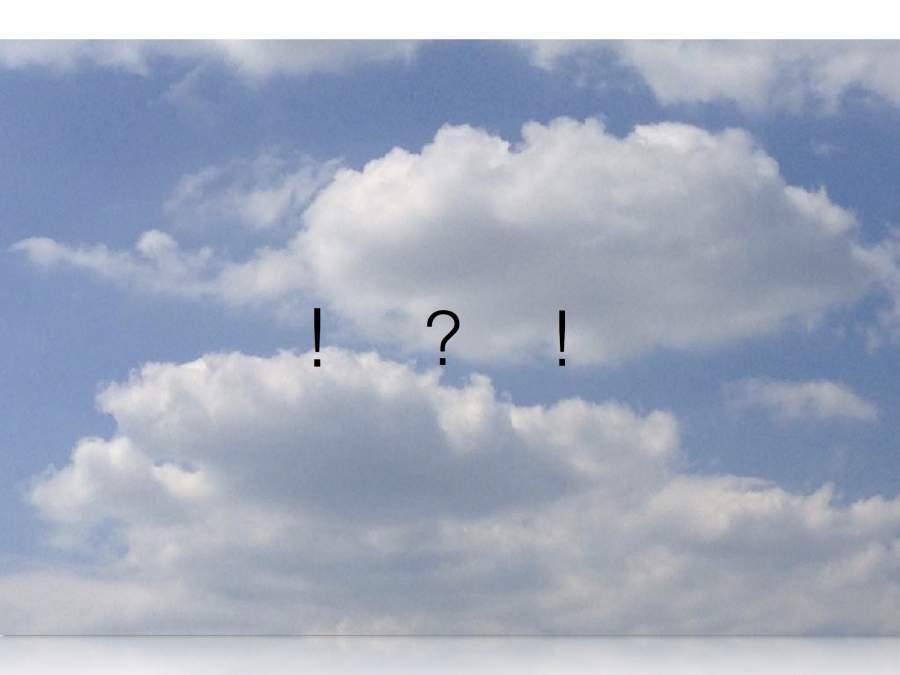 Jörg Simon, 2017, frisch, fromm, fröhlich, frei, Leben im Selbstverständlichen, Himmel, Wolken, Satzzeichen; Ausrufezeichen, Fragezeichen, Wolken, blau, weiß
