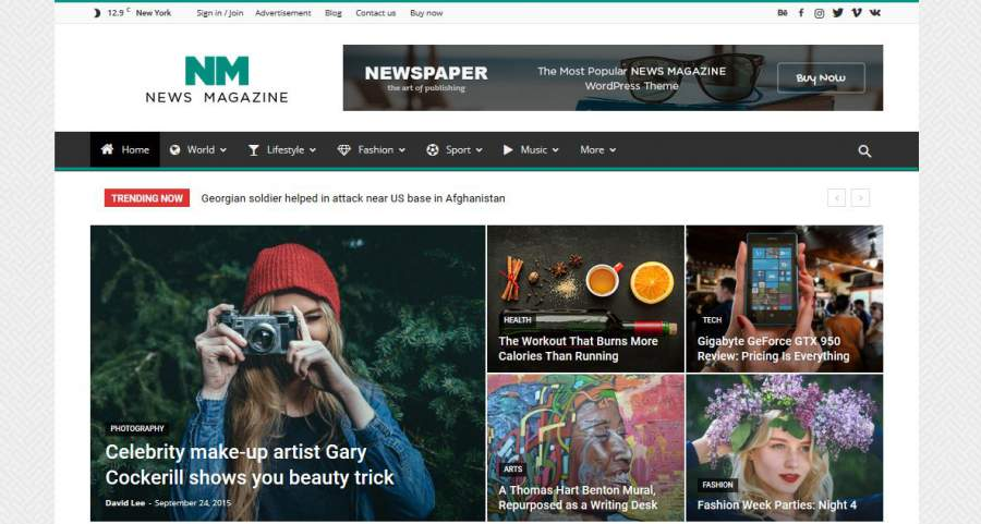 Newsfeed, Newspaper WordPress Theme, News MagazineLayout, WordPress Themes, die Ihre Inhalte betonen