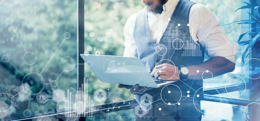 Smarte Technik, Laptop, Vernetzung, mobil, Arbeit