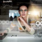 Technik, IT, Unternehmenszukunft, Matrix, Frau, Cloud, Cloud Computing