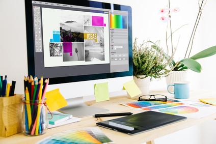 Grafik-Design, Farben, Farbauswahl, Ideen, Bildschirm, Schreibtisch, Bedruckung, Optik, Branding, individuelle Werbeartikel