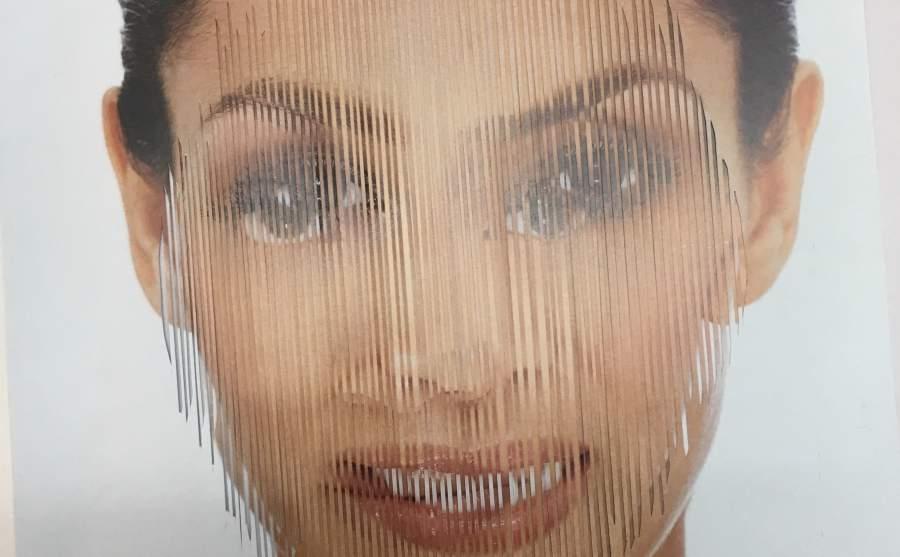 Gregor Wald, Auf Messers Schneide, Collage, Frau, Gesicht, Schichten, Close-up, Ausschnitt