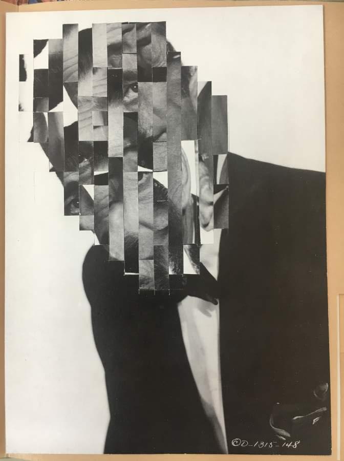 Gregor Wald, Auf Messers Schneide, fragmentierter Kopf, Man, Anzug, Profil, Protraitfoto