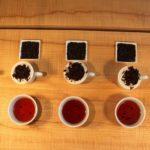 Assam Projekt, Assam Teeprobe, Qualitätskontrolle, Teeschalen, Tassen, Holztisch