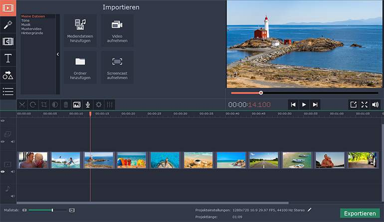 Movavi Slideshow Maker, Bilder Importieren, Interface, Layout, Bilder in Videos, Backend, Dateien hinzufügen