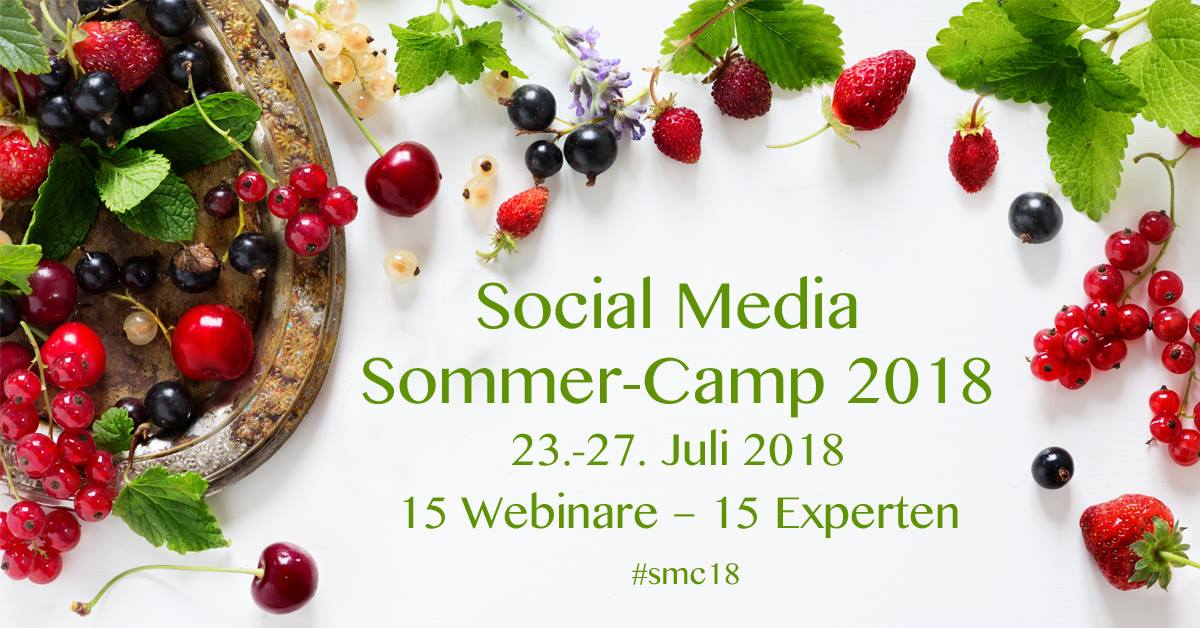 Social Media Sommer-Camp 2018, 23.-27. Juli 2018, Webinare, Internetauftritt, Online Kurse, Online Marketing