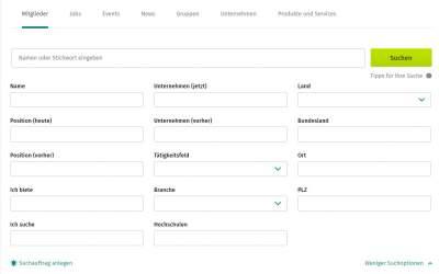Xing-Suche, Suchmaske, Screenshot