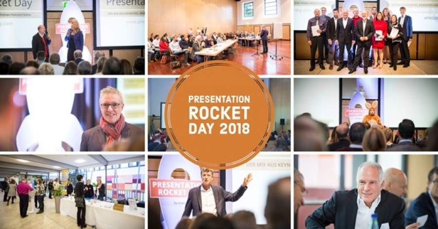 Collage, Coverbild PRD18, Presentation Rocket Day 2018, Präsentationskonferenz, PräsentationsTipps, Tipps für überzeugende Präsentationen, Konferenz, Veranstaltungstipp, Vortragsredner
