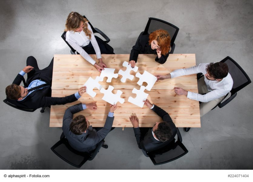 puzzle, kooperation, vertrauen, team