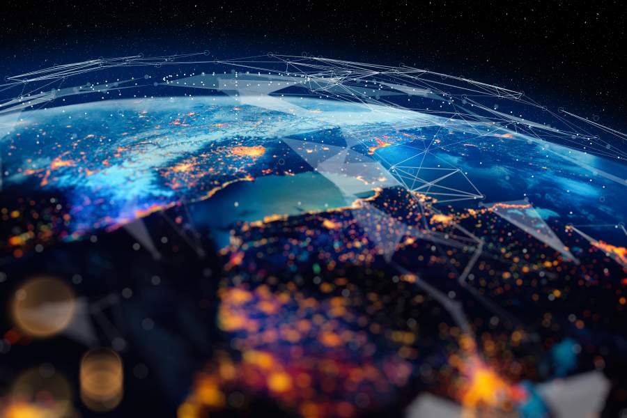 Weltweites Netzwerk globaler Kommunikation.