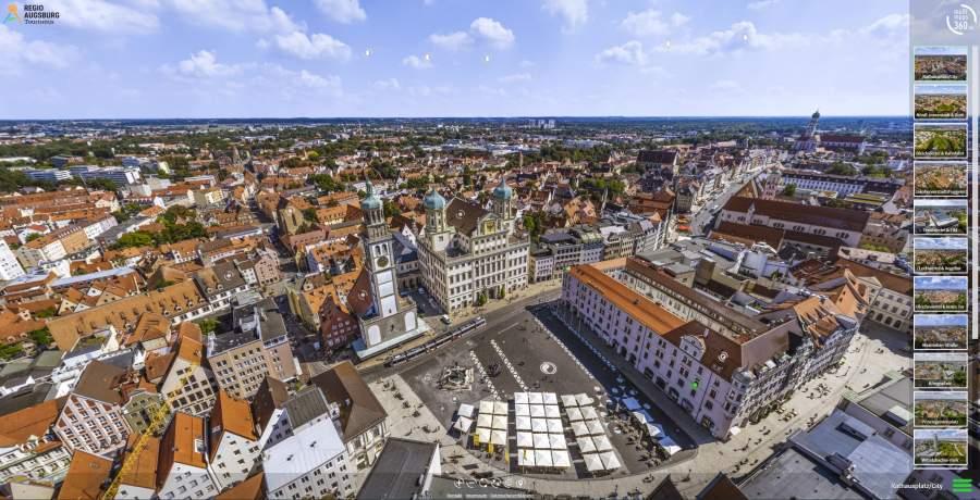 Start-Screen der Augsburg-Panorama-Tour der Regio Augsburg Tourismus GmbH.