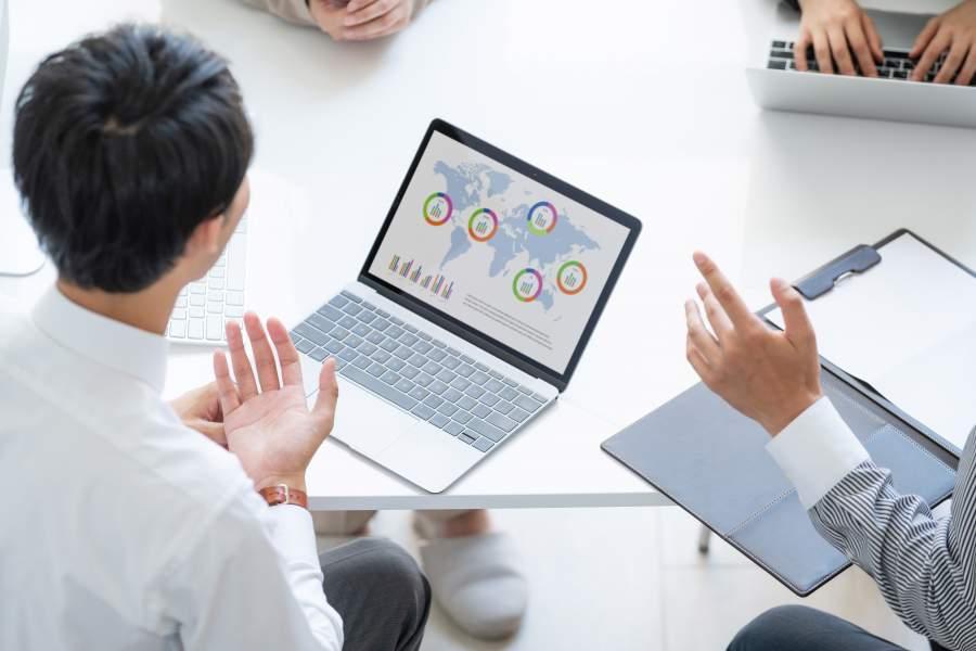 notebook, laptop, markterweiterung, gespräch, business