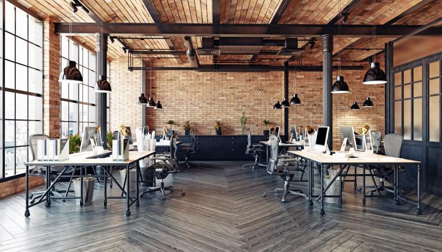 Großzügiges Büro in modernem Design mit Möbeln im Industrial-look.