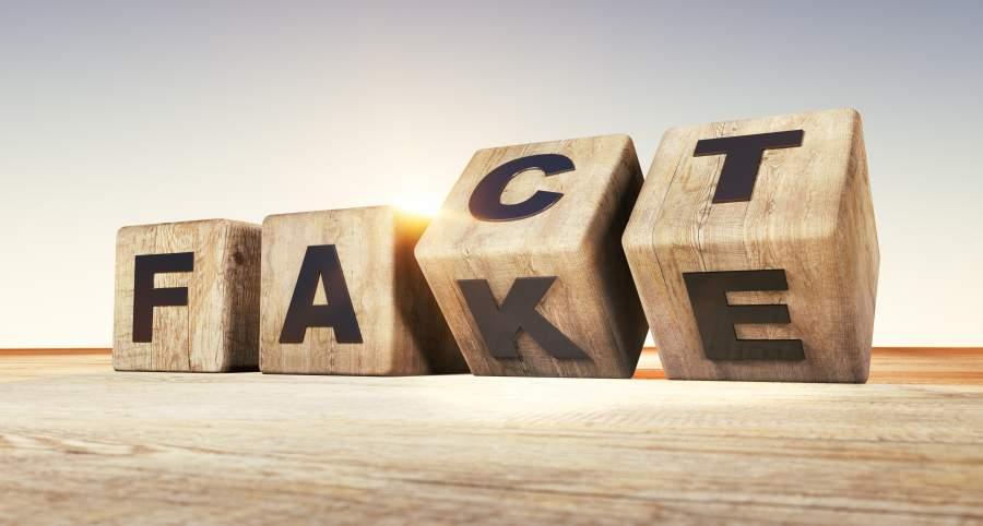 Würfel mit Buchstaben, die sich als Fact und Fake lesen lassen