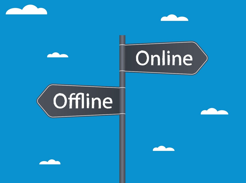 Schild mit der Entscheidung, ob man offline oder online verfolgen möchte