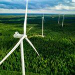 Mehrere große Windräder aus der Vogelperspektive, die in einem sattgrünen Wald stehen.