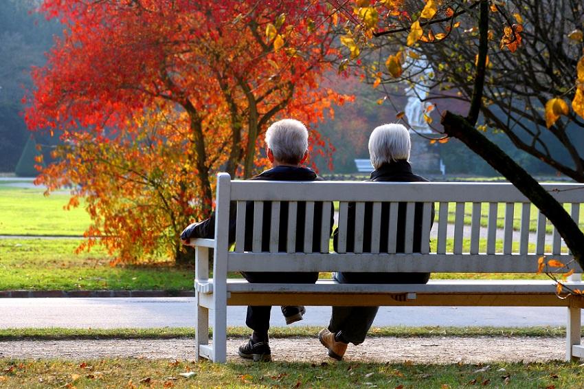 Rentnerpaar sitzt auf Parkbank im bunten Herbstlaub